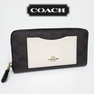 Coach Signature Accordion Wallet PVC Leather CC